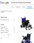 Captura de https://www.google.es/search?q=SILLAS DE RUEDAS ELÉCTRICAS&source=lnms&tbm=shop&sa=X&ved=0ahUKEwjCzbDz7pHZAhWBRhQKHTRgA-QQ_AUICigB&biw=1141&bih=603